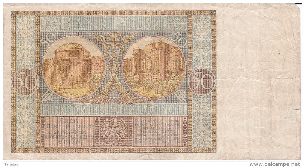 BILLETE DE POLONIA DE 50 ZLOTYCH DEL AÑO 1929 (BANKNOTE) - Polonia
