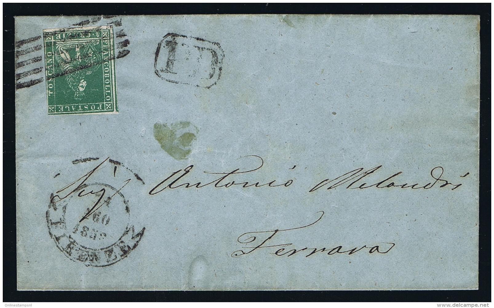Toscana  1858 Sa 14 Mi 14 Watermark II Cover From Firenze To Ferrava - Toskana