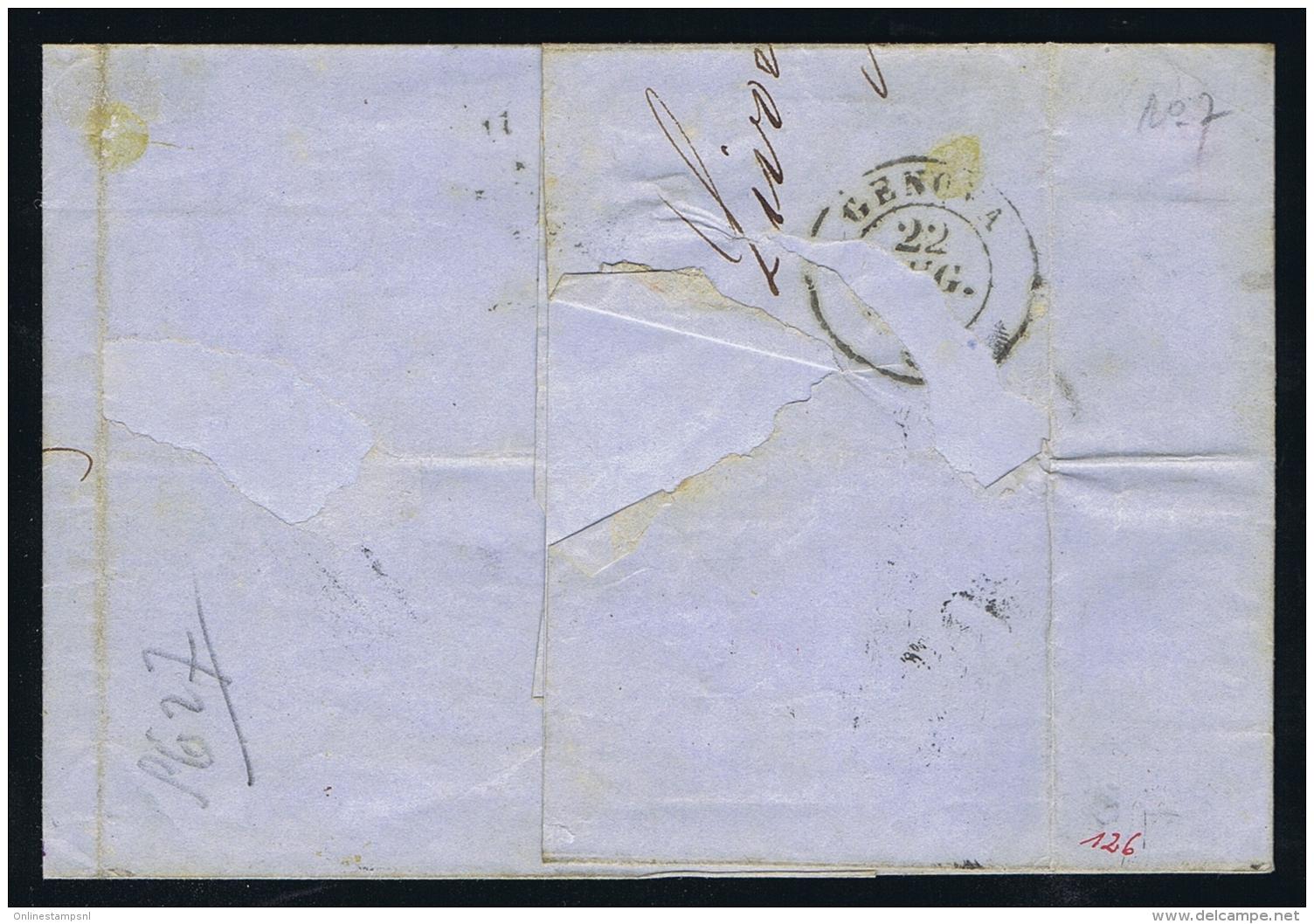 Toscana  1858 Sa 15,  Letter From Livorno To Napoli - Toskana