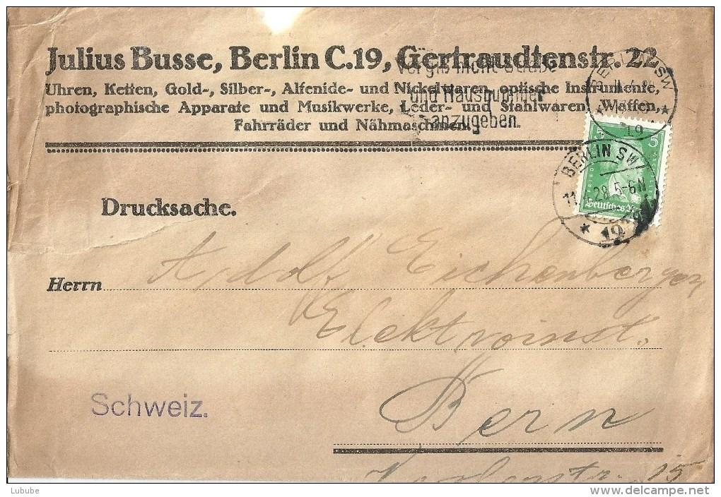 """Streifband  """"Busse, Berlin"""" - Bern           1928 - Storia Postale"""