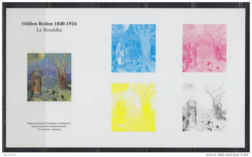 Bloc Gommé, Etapes De L´impression En Héliogravure Du Timbre Odilon Redon, Le Bouddha, France N°2635 - Blocs & Feuillets