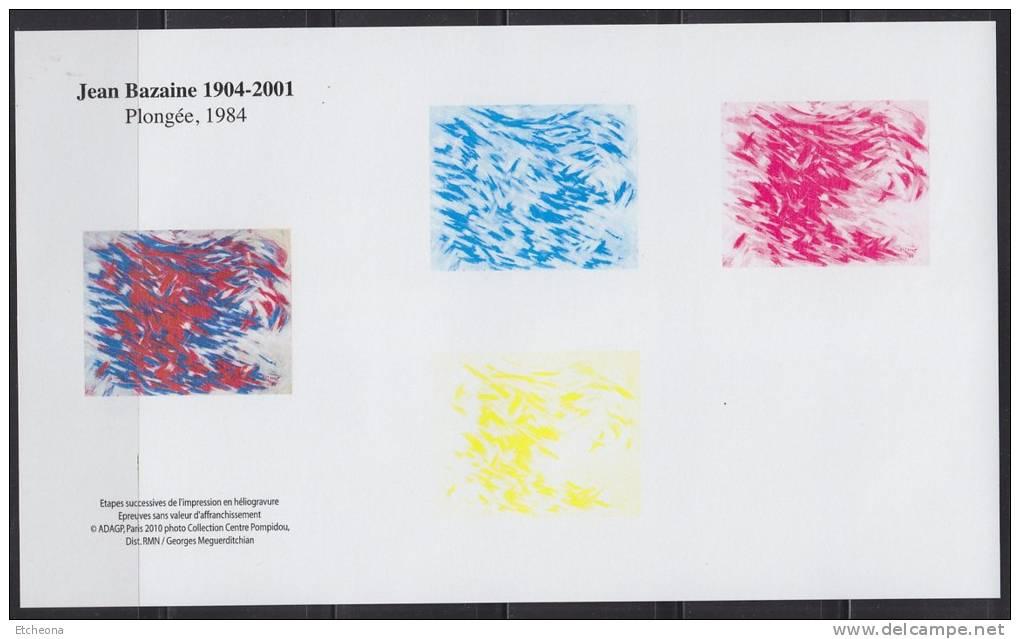 """Jean Bazaine 1904-2001, Etapes Couleurs De L´impression En Héliogravure """"Plongée, 1984"""" Bloc Gommé - Blocs & Feuillets"""
