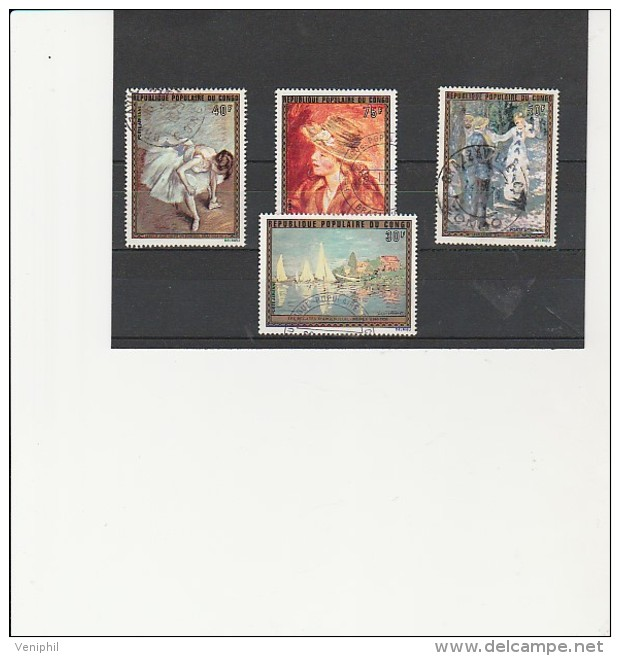 CONGO - POSTE AERIENNE - TABLEAUX CELEBRES - N° 198 A 201 OBLITERE  TB - ANNEE 1974 - Congo - Brazzaville