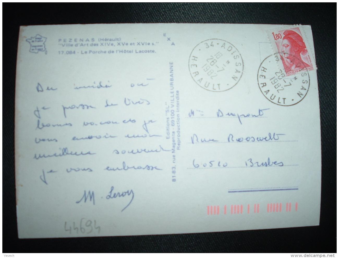 CP TP LIBERTE DE GANDON 1,80 OBL.28-7-1982 34-ADISSAN HERAULT (34) - Marcophilie (Lettres)