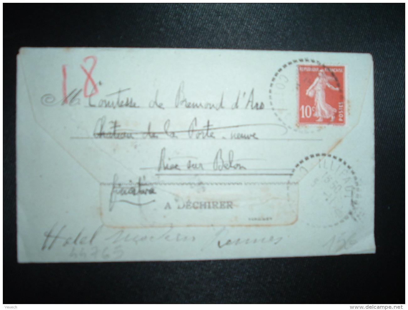 CL TP SEMEUSE 10c OBL. Tiretée 5-11-13 ILLIFAUT à COMTESSE DE BREMOND D'ARS CHATEAU DE LA PORTE NEUVE RIEC SUR BELON (29 - Marcophilie (Lettres)