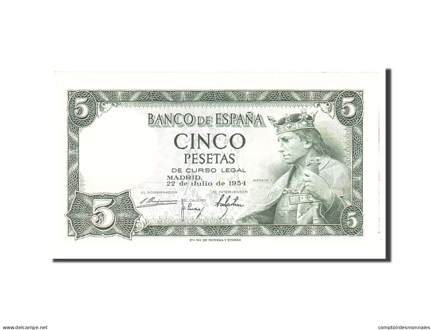 Espagne, 5 Pesetas, 1954, KM:146a, 1954-07-22, NEUF - [ 3] 1936-1975 : Régence De Franco
