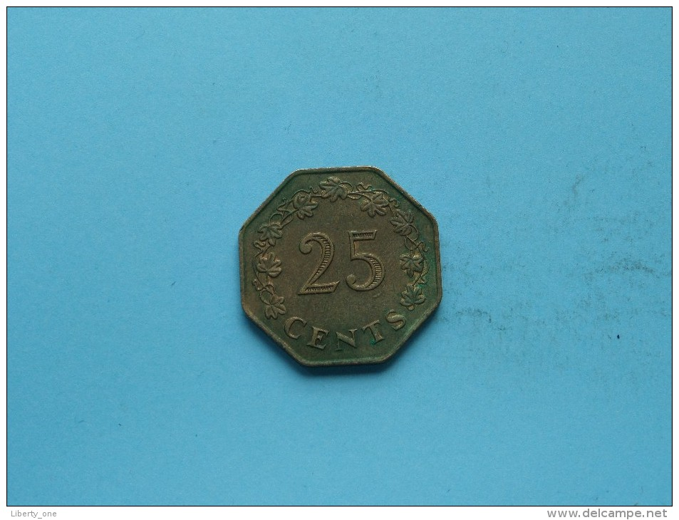 1975 - 25 Cents - KM 29 ( Uncleaned Coin / For Grade, Please See Photo ) !! - Malta
