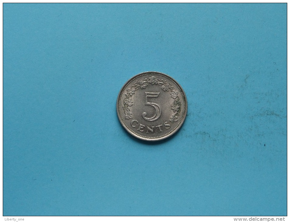 1977 - 5 Cents - KM 10 ( Uncleaned Coin / For Grade, Please See Photo ) !! - Malta