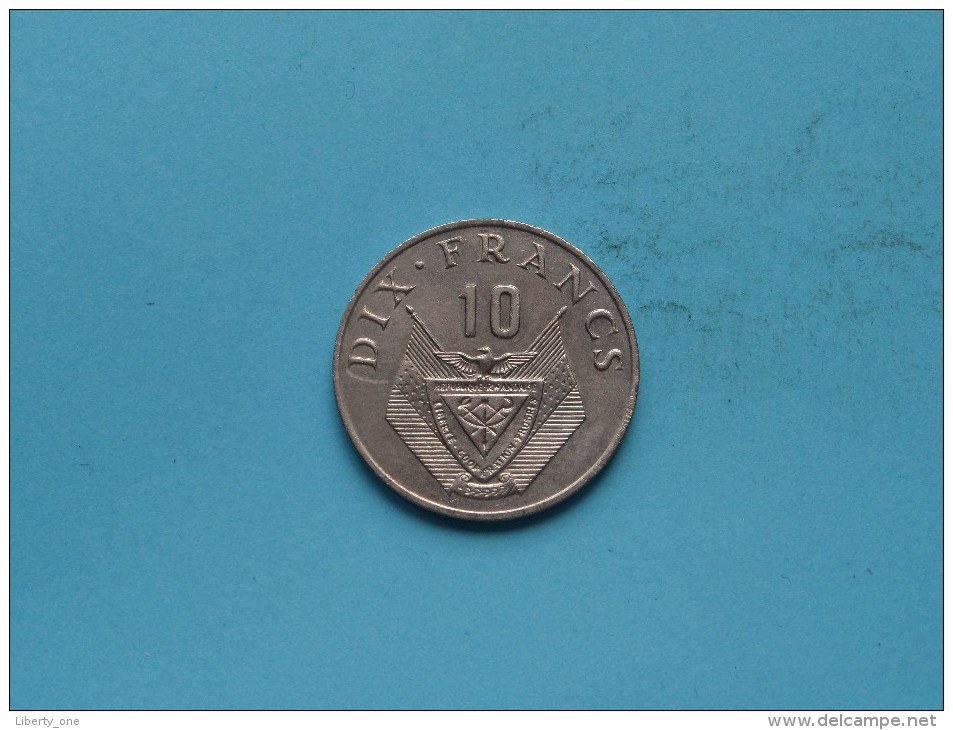 1974 - Dix Franc - KM 14.1 ( Uncleaned Coin / For Grade, Please See Photo ) !! - Rwanda