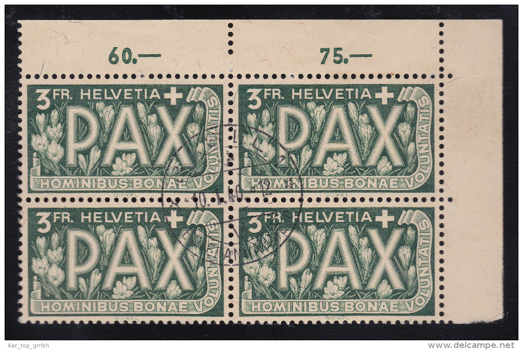 Schweiz 1945 Z#272 VB Gestempelt Pax 3 Fr. - Suisse