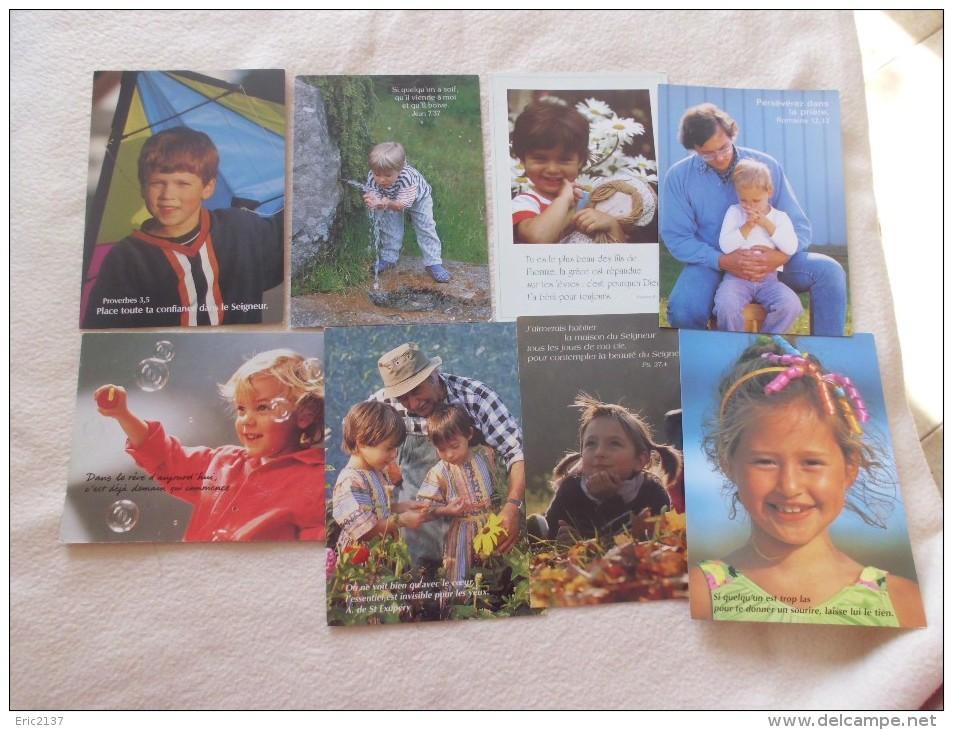 LOT DE 8 CARTES  ENFANTS ET TEXTES ...RELIGIEUX..POETIQUES - Cartes Postales