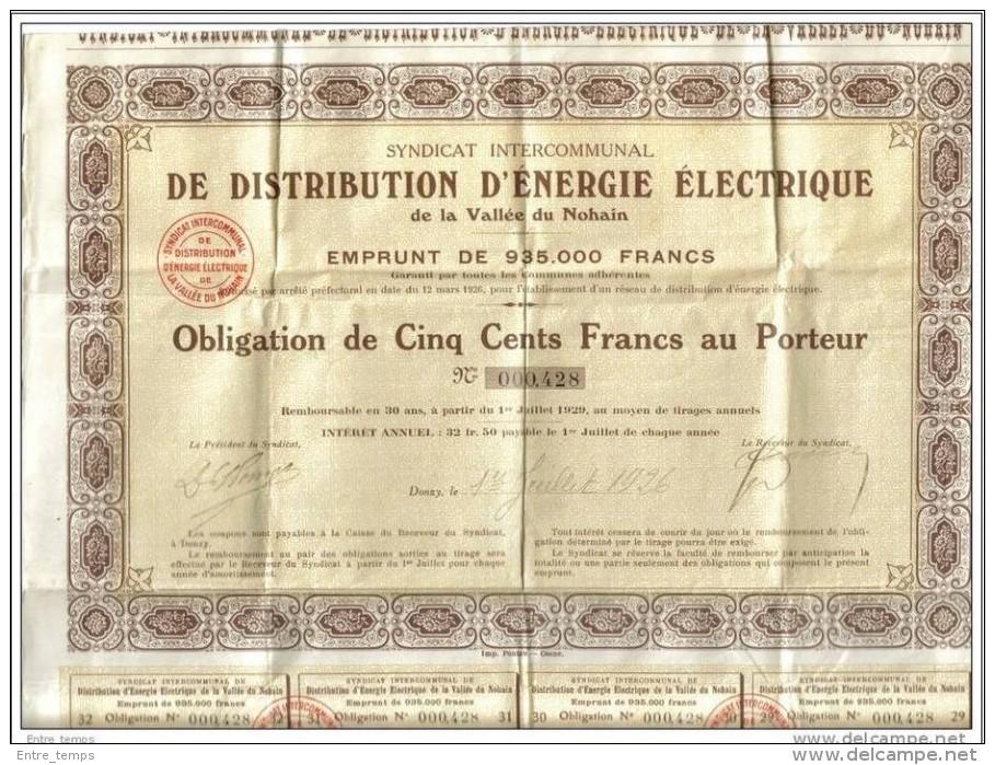 Vallée Du Nohain Donzy Distribution Energie Obligation Cinq Cents Francs - Electricité & Gaz