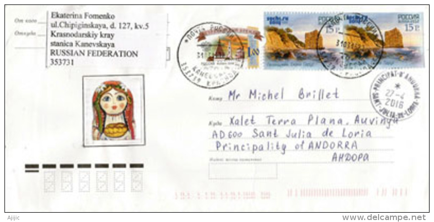 Timbres Sochi 2014 Sur Lettre Adressée ANDORRE, Avec Timbre à Date Arrivée - 1992-.... Federazione