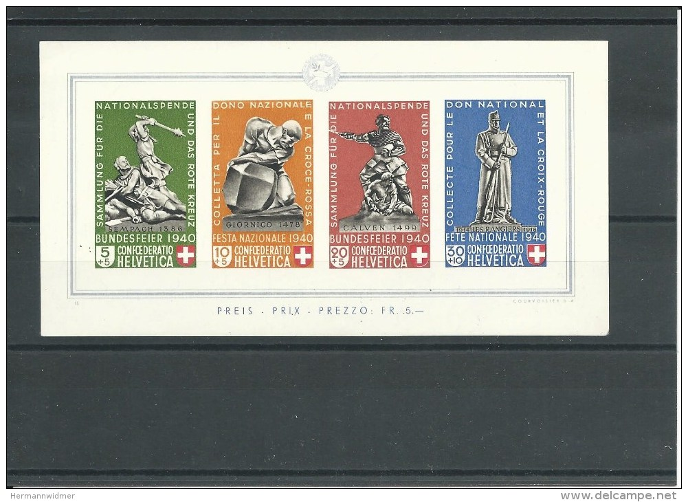W II 12, PP, Bloc Monuments, Sempach 1385, Giornico 1478, Calven 1499, Les Rangiers 1914-1918, 1940 - Neufs
