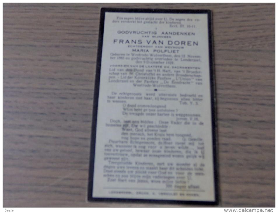 Frans VAN DOREN, Echtgenoot Van Maria POLFLIET Westrode Wolverthem 1865-1929 Londerzeel - Documentos Históricos