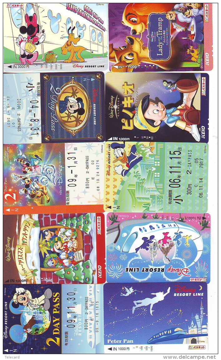 LOT DISNEY JAPAN * 10 CARTES PREPAYEES Japon (LOT 25) 10 Japan PREPAIDCARDS * 10 DISNEY KARTEN - Disney