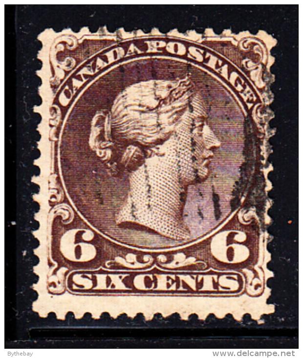 Canada Used Scott #27f 6c Large Queen Victoria - 1851-1902 Règne De Victoria