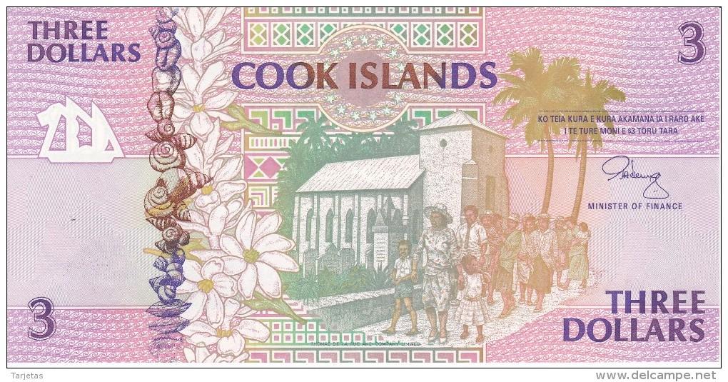BILLETE DE LA ISLA COOK DE 3 DOLLARS DEL AÑO 1992 SIN CIRCULAR-UNCIRCULATED (BANKNOTE) CARACOLA-SEA SHELL - Islas Cook