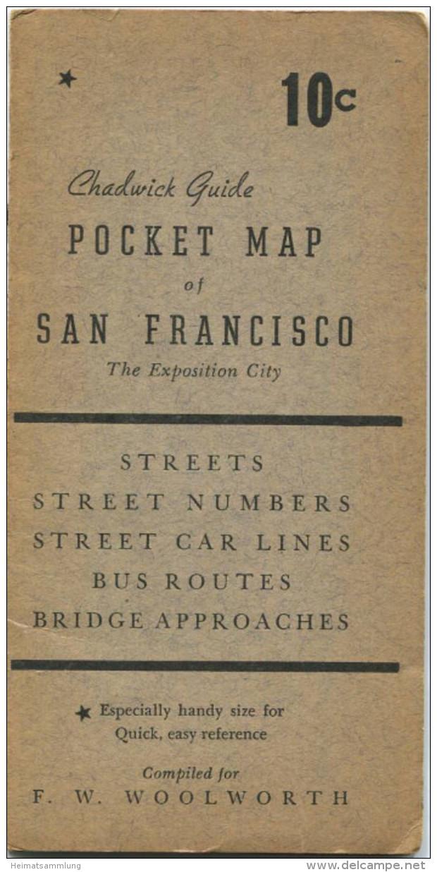 San Francisco - Pocket Map - Streets - Street Numbers - Street Car Lines - Bus Routes - Bridge Approaches - 43cm X 34cm - Karten