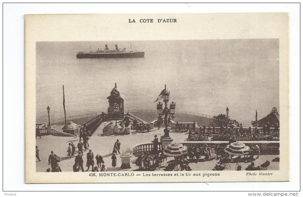 CPA Monaco Monté-Carlo Les Terrasses Et Le Tir Au Pigeons - Monte-Carlo