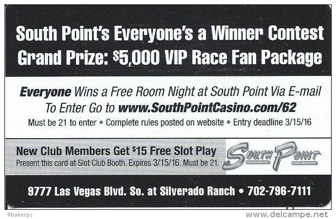 South Point Casino - Las Vegas, NV - 2016 VIP Race Fan Contest Card - Casino Cards