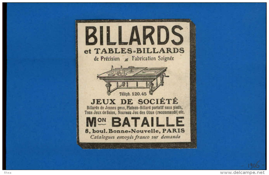 BILLARD - Publicité Issue D´une Revue De 1906 Collé Sur Feuille - Vieux Papiers