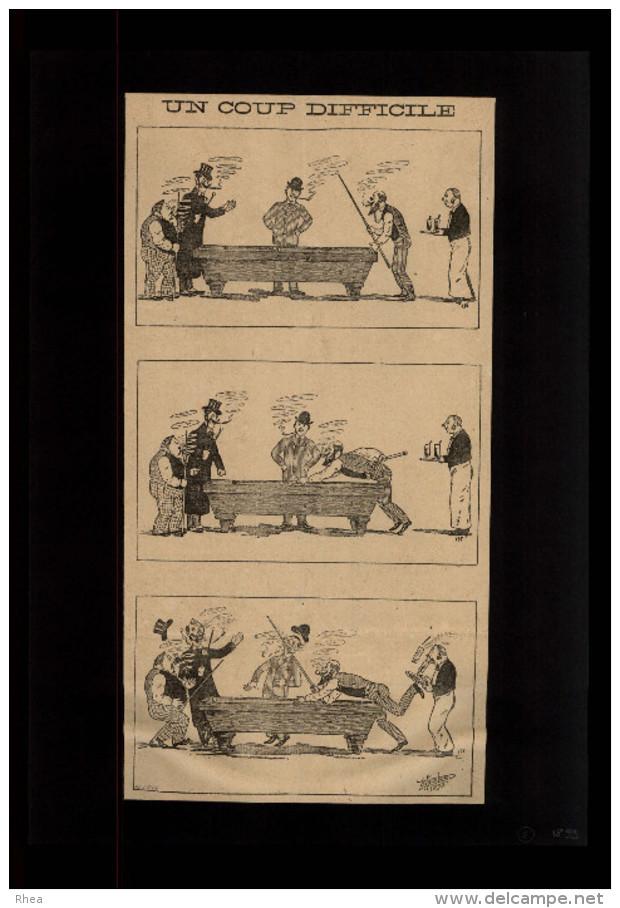 BILLARD - Dessin Issu D´une Revue De 1899 Collé Sur Feuille A4 - Non Classés