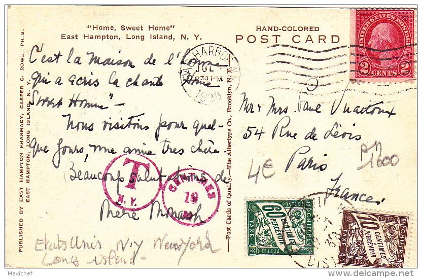 """Home, Sweet Home"" East Hampton, Long Island N. Y. - Circulé 1938, Taxée, Timbres Taxes Français Pour 70 Centimes - Long Island"