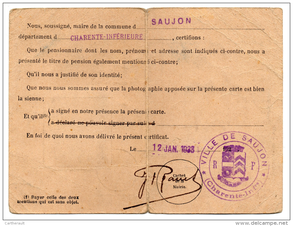 Carte D'invalidité - M. RENESME De SAUJON ( Charente Maritime ) - Documents