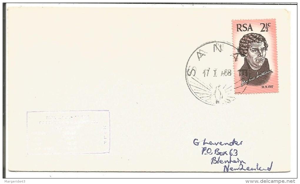 AFRIQUE DU SUD LETTRE DE SANA POUR LA NOUVELLE ZELANDE DU 17/1/1968 - Afrique Du Sud (1961-...)