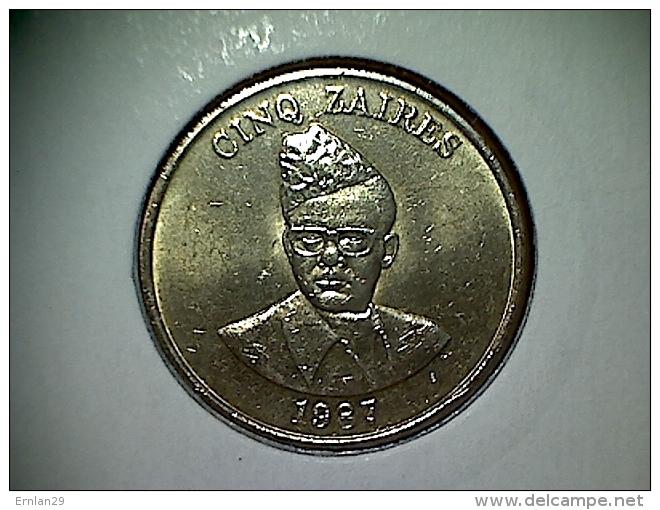 Zaire 5 Zaires 1987 - Zaire (1971-97)