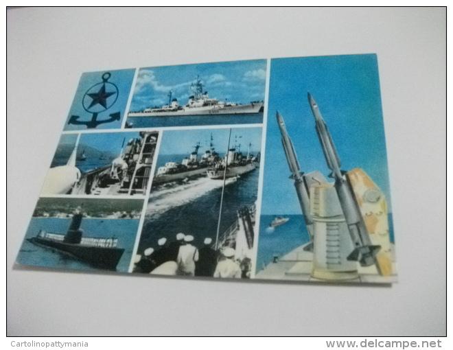 NAVE SHIP GUERRA  VEDUTINE SOMMERGIBILE E NAVI GUERRA  MISSILI ANNULLO AUGUSTA - Guerra