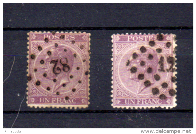1 Franc   Léopold 1er, 21 / 21a  Ø, Cote 725 €,  Les Deux Nuances - 1865-1866 Profil Gauche