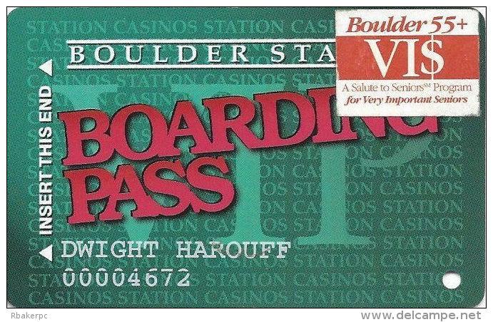 Boulder Station Casino Las Vegas, NV - Slot Card @1997 With Senior VI$ Sticker - Casino Cards
