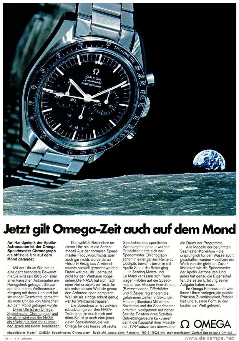 Original-Werbung/ Anzeige 1969 - OMEGA UHR AUF DEM MOND - Ca. 180 X 240 Mm - Werbung