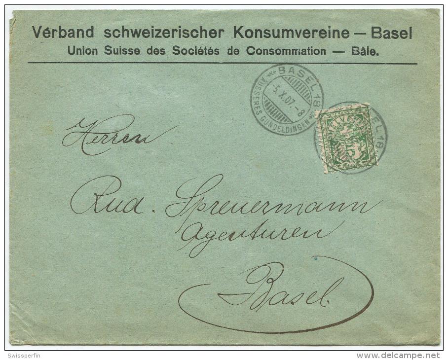 1524 - Perfin Beleg Vom Verband Schweizerischer Konsumvereine In Basel - 1882-1906 Wappen, Stehende Helvetia & UPU