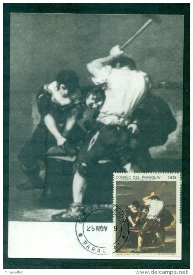 Tableau De Goya Sur Carte Maximum 1969 - Paraguay