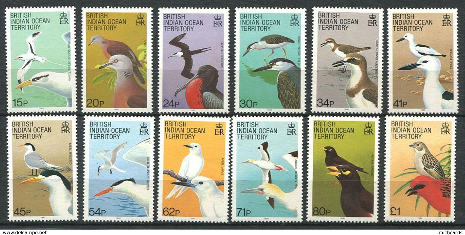 165 OCEAN INDIEN 1990 - Yvert 94/105 - Oiseau - Neuf ** (MNH) Sans Trace De Charniere - Territoire Britannique De L'Océan Indien