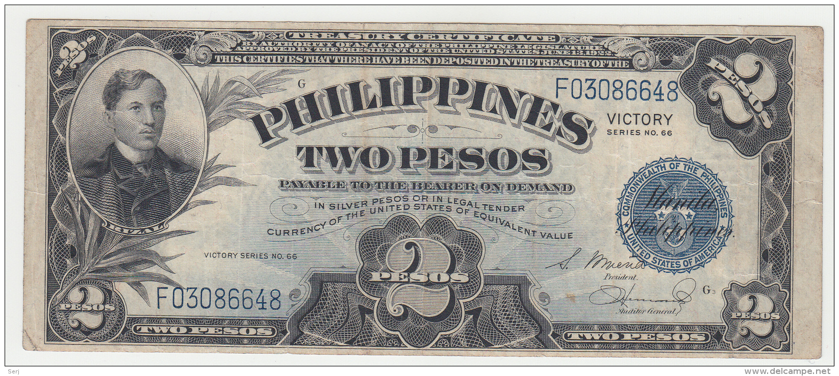 Philippines 2 Peso 1944 VF Victory Over Japan WW 2 - Series G Pick 95 - Philippines