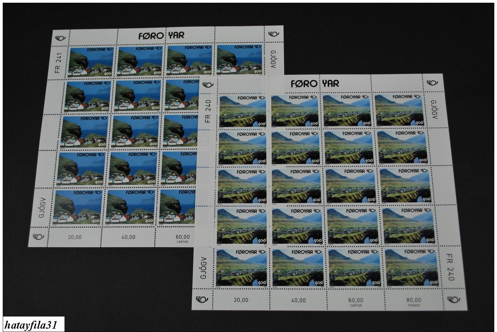 Färöer Inseln 1993 NORDEN - Mi. 246 - 247 ** Bogensatz / Touristische Attraktionen - (Box - 4) - Féroé (Iles)