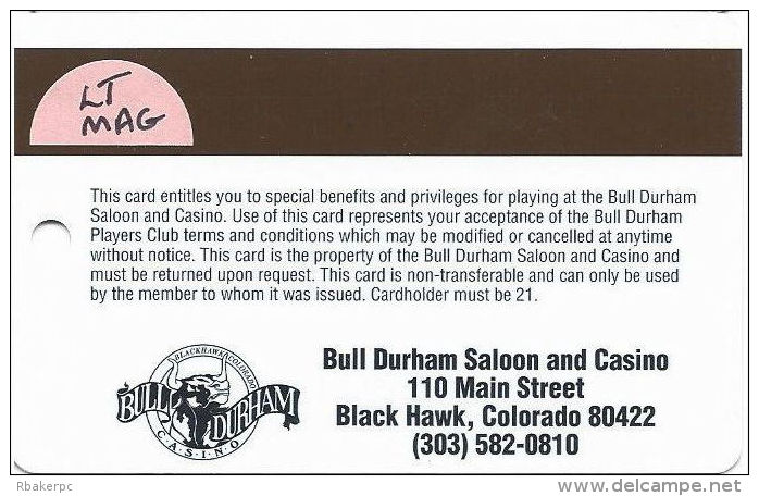 Bull Durham Casino Black Hawk CO - Slot Card - Light Brown Mag Stripe - Casino Cards