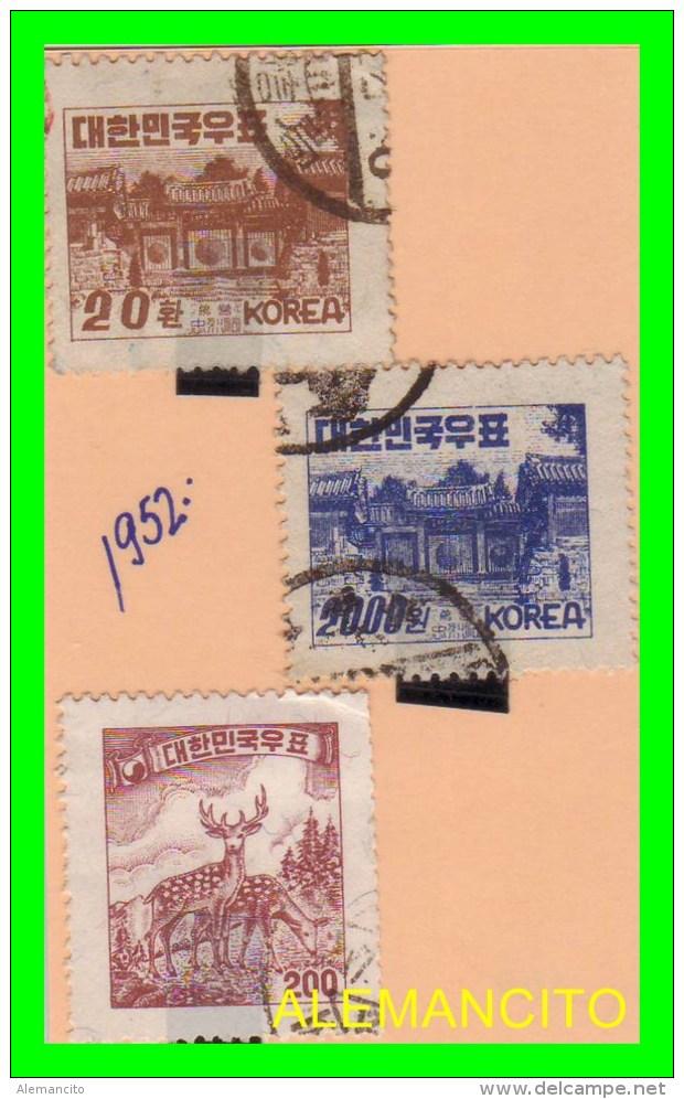 KOREA   - 3 SELLOS  DEL  AÑO 1952 - Corea (...-1945)