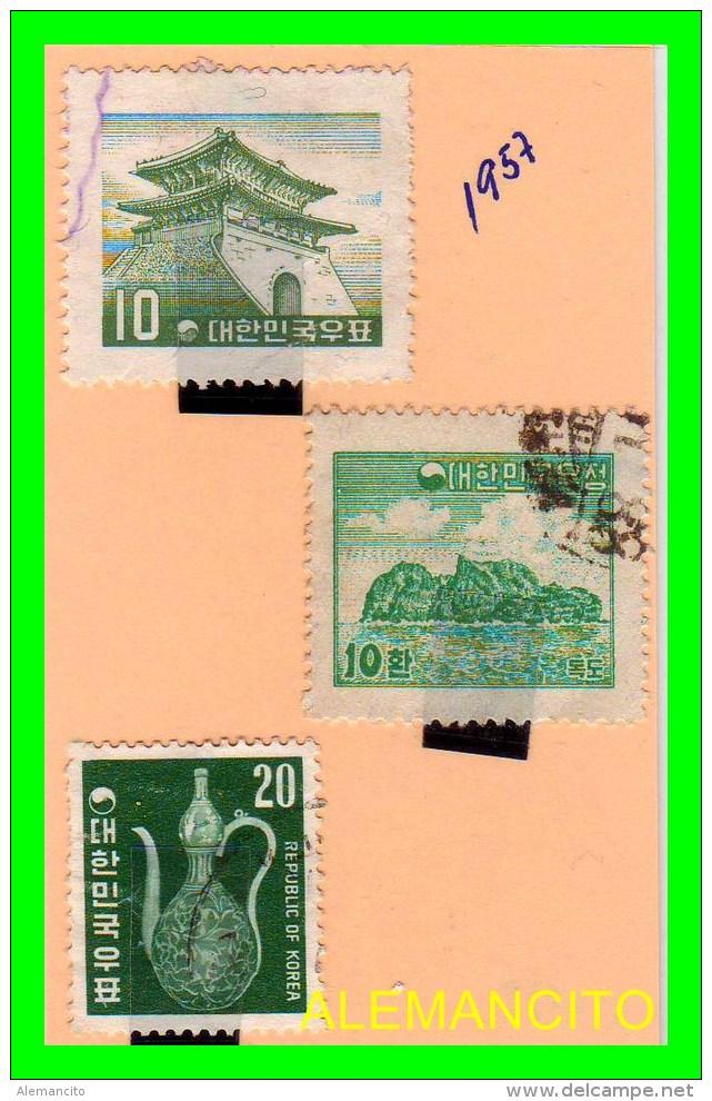 KOREA   -   3  SELLOS  DEL  AÑO 1957 - Corea (...-1945)