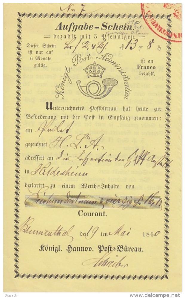 Einlieferungsschein Blumenthal 19.5.1860 - Hannover