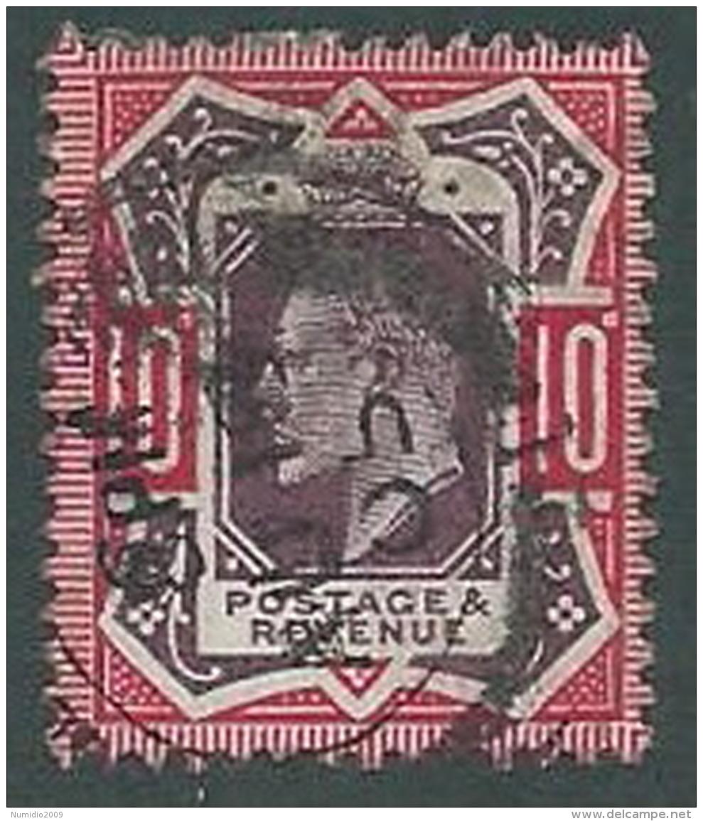 1902 GRAN BRETAGNA USATO EFFIGIE EDOARDO VII 10 P - U3 - 1902-1951 (Re)