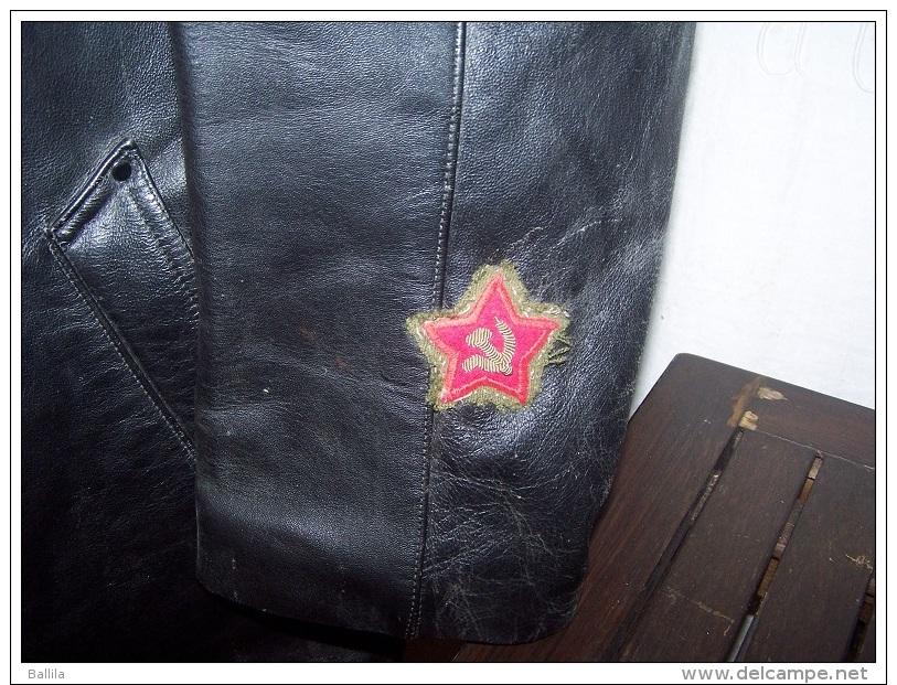 Canadiènne MANTEAU CUIR  Type NKVD  Comissaire Politique URSS  Russe - Uniformes
