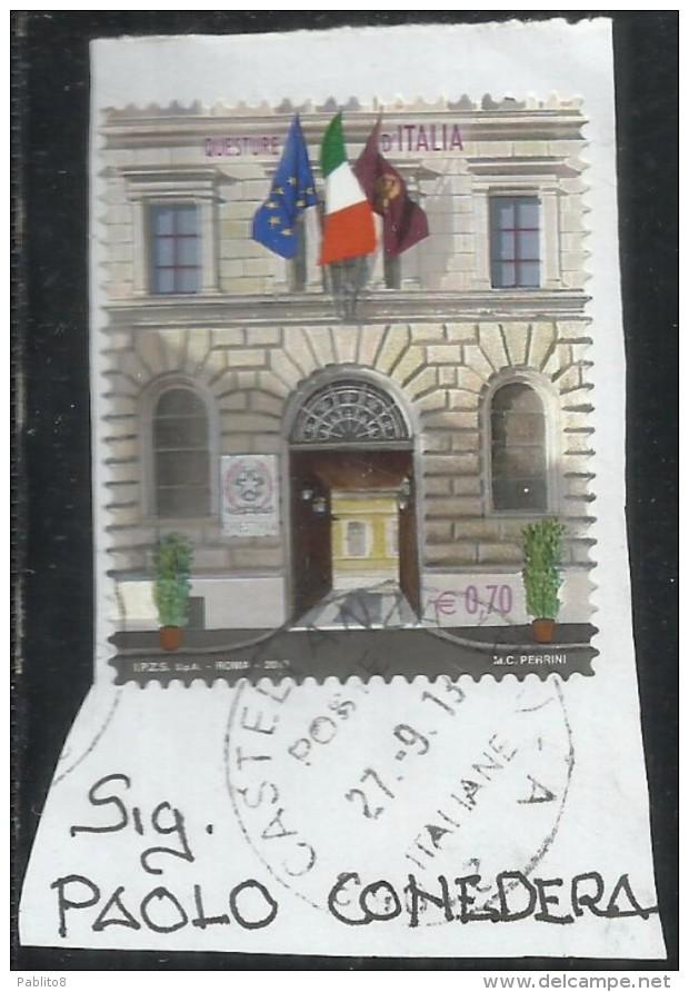 ITALIA REPUBBLICA ITALY REPUBLIC 2013 QUESTURE D´ITALIA ROMA  €  0,70 USATO USED OBLITERE´ - 6. 1946-.. Republic