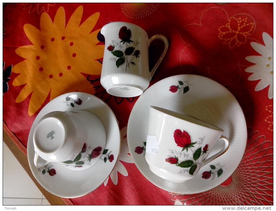 MITTERTEICH BAVARIA DUO 2 Tasses à Café Thé +sous Tasses  + Pot Crème Porcelaine Striée - Fleurs Roses Rouges - Mitterteich (DEU)