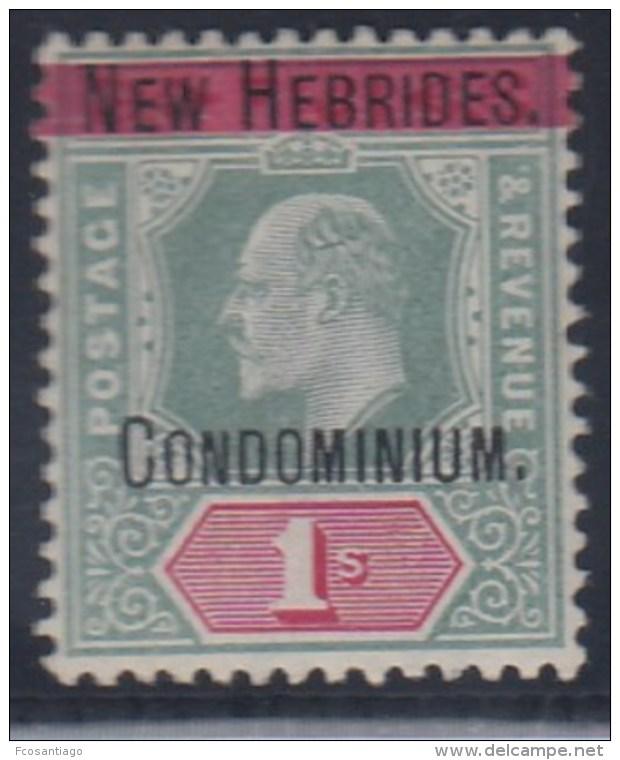 NEW HEBRIDES 1908/09 (LEYENDA FRANCESA) - Yvert #14 - MLH * - Leyenda Francesa