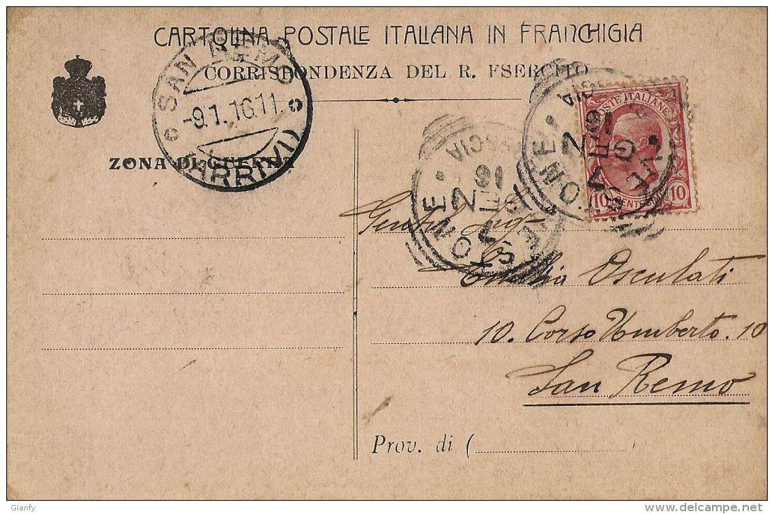 FRANCHIGIA POSTA MILITARE PRIVATA 1916 VESTONE X SAN REMO BERSAGLIERI - Military Mail (PM)